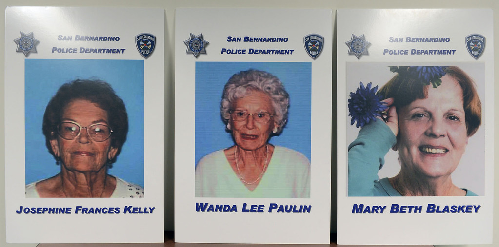 . The photos of murder victims Josephine Kelly, from the left, Wanda Paulin and Mary Blaskey are displayed at a press conference where San Bernardino police announced the arrest of Jerome Anthony Rogers, 55, of San Bernardino in the killing of Mary Beth Blaskey, said San Bernardino police Chief Robert Handy. Handy said investigators suspect there is at least one other person involved in the slaying. Rick Sforza/Staff photographer