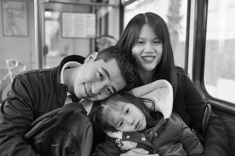Scott, Ally and Carolyn on the train