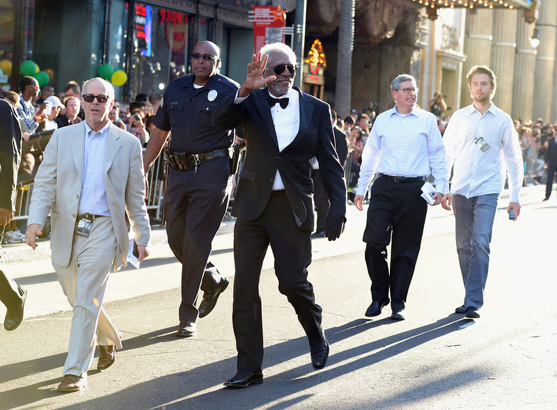 """. Actor Morgan Freeman arrives at the premiere of Universal Pictures\' \""""Oblivion\"""" at Dolby Theatre on April 10, 2013 in Hollywood, California.  (Photo by Jason Merritt/Getty Images)"""