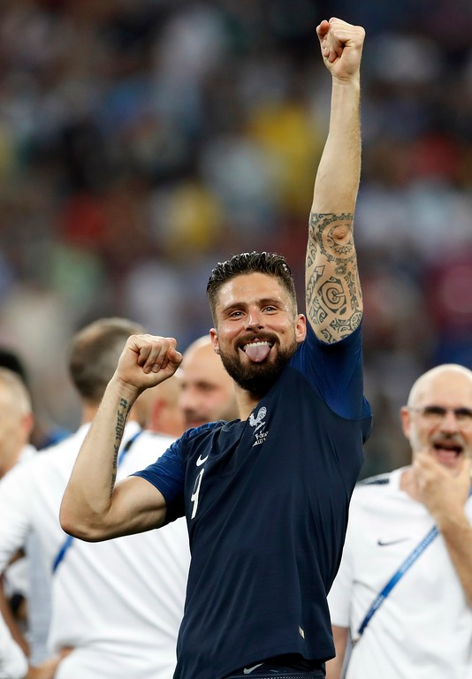. France\'s Olivier Giroud celebrates at the end of the final match between France and Croatia at the 2018 soccer World Cup in the Luzhniki Stadium in Moscow, Russia, Sunday, July 15, 2018. France won 4-2. (AP Photo/Petr David Josek)