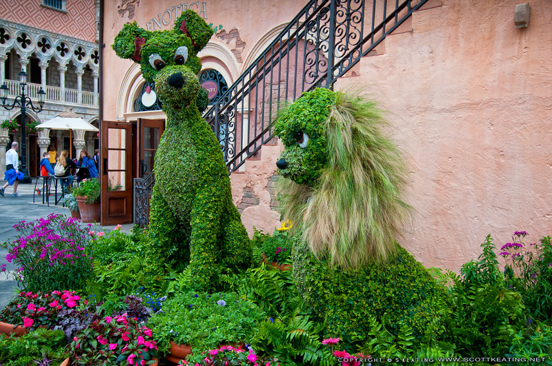 Lady and the Tramp Topiary<br /> Topiary display at the Italy Pavilion - Epcot