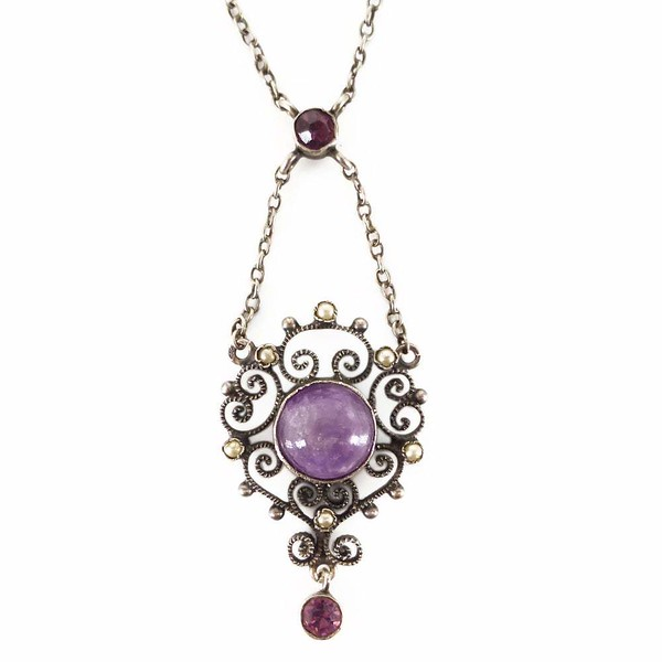 Antique Edwardian Silver Amethyst & Pearl Lavalier Pendant Necklace