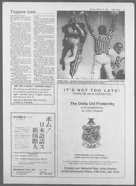 Daily Trojan, Vol. 105, No. 27, October 12, 1987