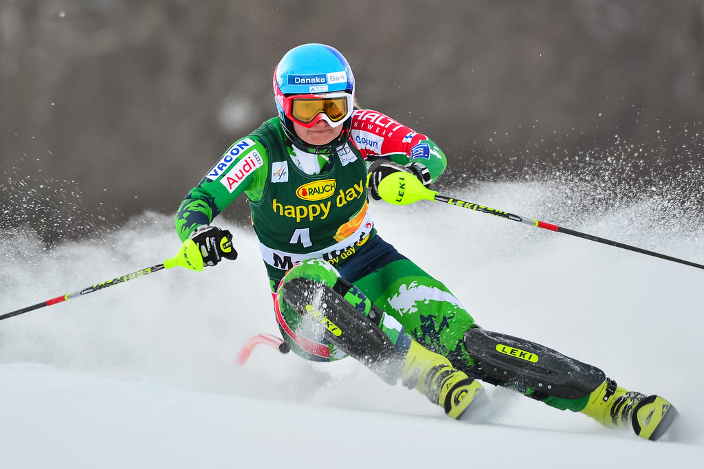. Tanja Poutiainen of Finland competes during first run of the FIS women\'s World Cup slalom in Maribor on January 27, 2013.     Jure Makovec/AFP/Getty Images