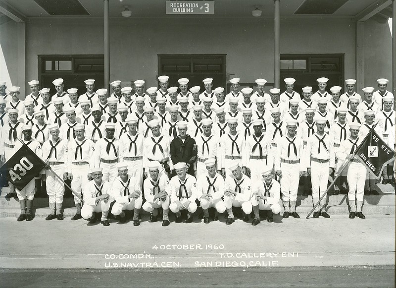 My company graduating from the US Training Center in San Diego, Calif., October 1960 (James is back row, 6th from right.)