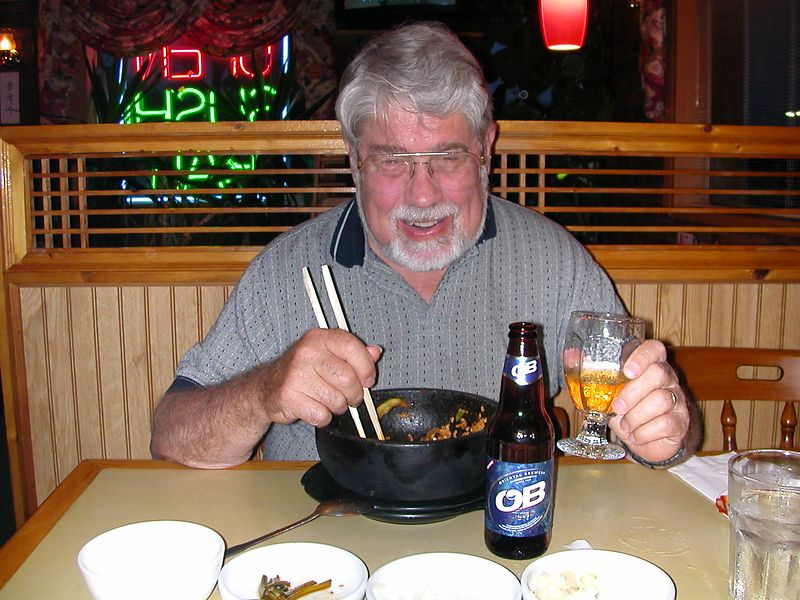 And a drink of OB.  Here's to you!  16 June 2004