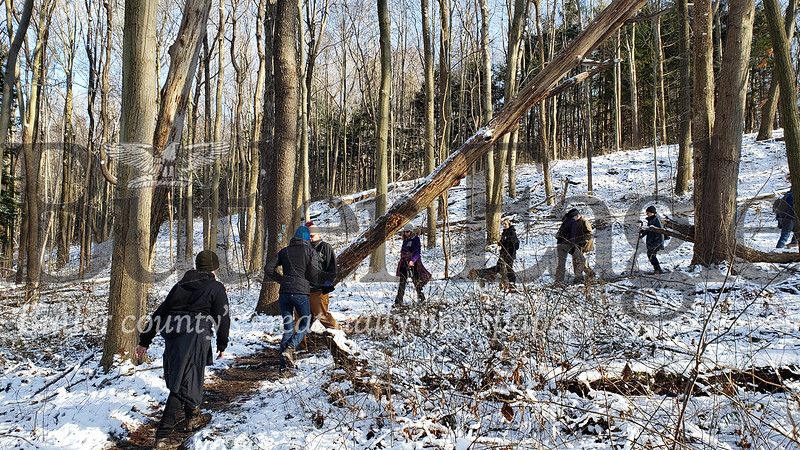 Hikers walk the North Country Trail at Moraine State Park Wednesday. The park's annual first day hike attracted dozens of visitors.  Tanner Cole/Butler Eagle