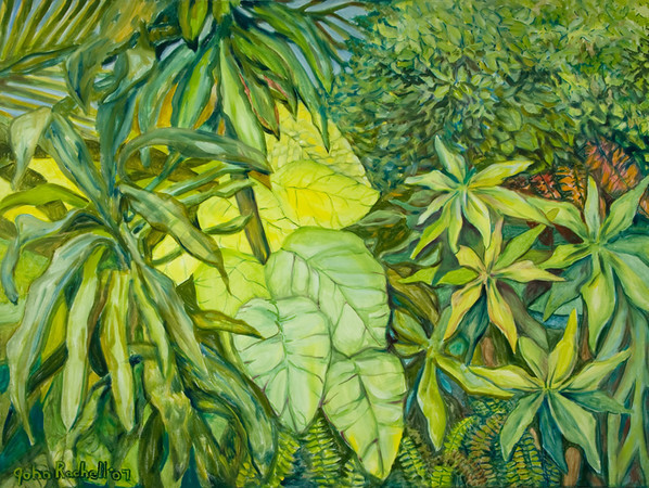 """©John Rachell  Title: The Garden, May 12, 2007 Image Size: 48"""" w by 36"""" d Dated: 2007 Medium and Support: Oil Paint on canvas Signed: LL Signature"""