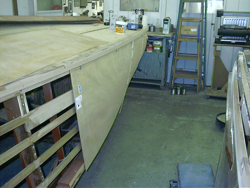 Another view of plywood being fit.
