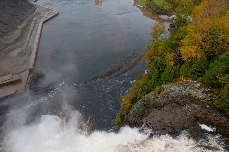 Looking down from the bridge at the Montmorency Falls in Quebec City, Canada