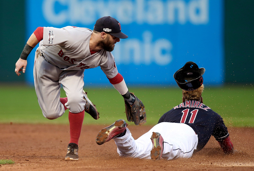 . Boston Red Sox second baseman Dustin Pedroia, left, tags out Cleveland Indians\' Jose Ramirez (11) who was attempting to steal second base in the fifth inning during Game 2 of baseball\'s American League Division Series, Friday, Oct. 7, 2016, in Cleveland. (AP Photo/Aaron Josefczyk)