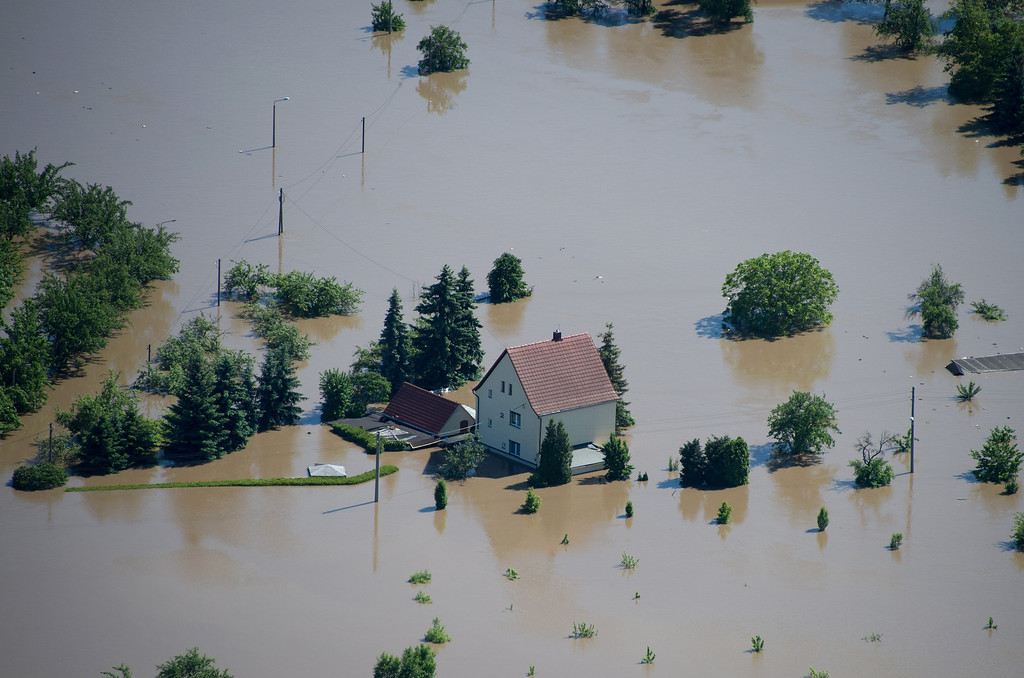 . Aerial view shows flooded houses of Riesa, eastern Germany, on June 5, 2013.  AFP PHOTO / JOHANNES EISELE/AFP/Getty Images