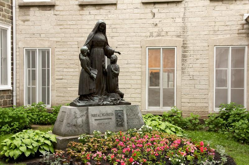 Marie de L'Incarnation statue. Quebec City, Canada.