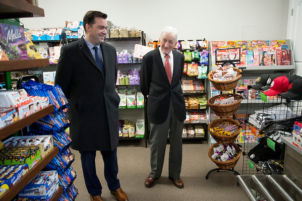 01/27/20 Wesley Bunnell | StaffrrPodlaise Meat Market held its ribbon cutting on Monday afternoon at its 188 High St. location. Attorney Adrian Baron , L, tours the market.