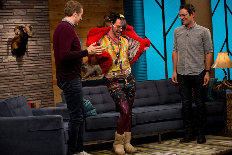 . Scott Aukerman, Nick Kroll and Ty Burrell in Comedy Bang! Bang!  (Photo by Katrina Marcinowski)