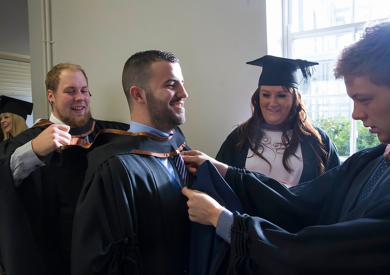 28/10/2015. FREE TO USE IMAGE. WIT (Waterford Institute of Technology) conferring ceremony at WIT College Street Campus, Waterford. Pictured are Gerry Kelly, Wicklow, Zane Mulcahy, Clonmel, Brian Mernagh, New Ross, Co. Wexford and Eadaoin Miskella who graduated BA (Hons) Social Care. Picture: Patrick Browne