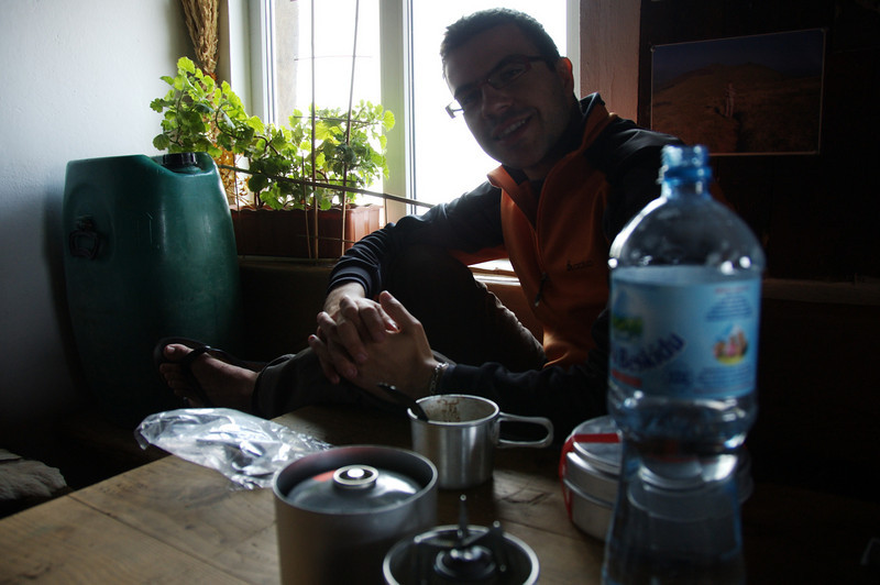 Breakfast on day 3. Sacoum and his coffee with musli