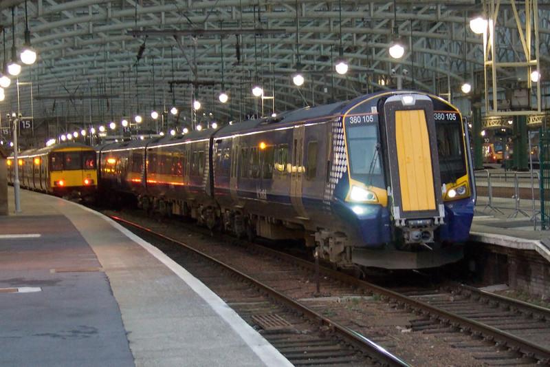 380105 at the end of P14 at the head of a two unit test train