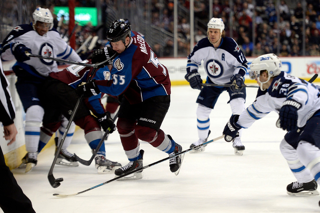 . Cody McLeod (55) of the Colorado Avalanche controls the puck as Tobias Enstrom (39) of the Winnipeg Jets defends during the Avs\' 3-2 win. (Photo by AAron Ontiveroz/The Denver Post)