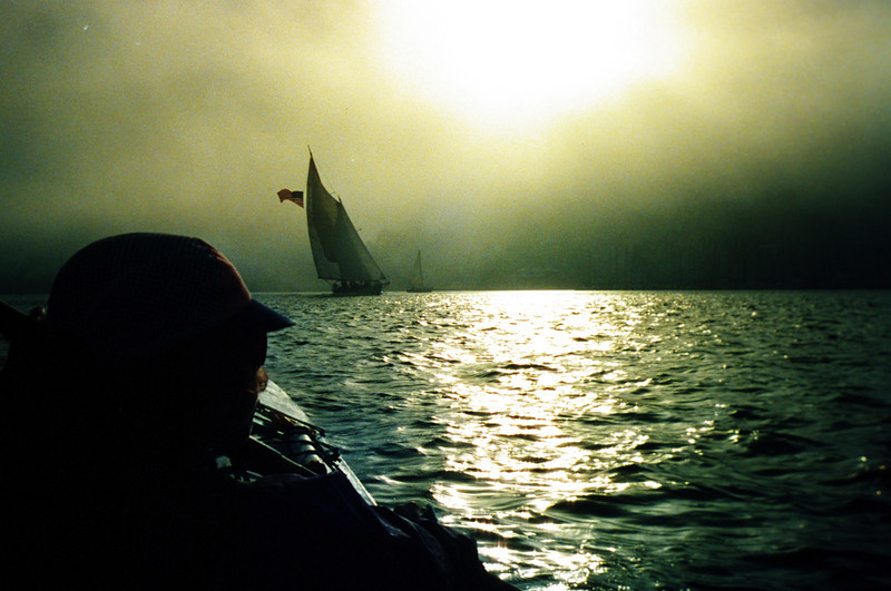 From the backseat of a double kayak on San Diego Bay as the evening fog rolls in. 1990.