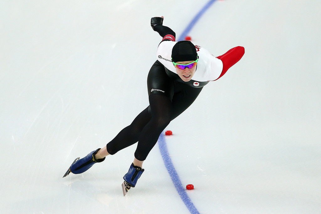 . Christine Nesbitt of Canada competes during the Women\'s 1000m Speed Skating event on day 6 of the Sochi 2014 Winter Olympics at Adler Arena Skating Center on February 13, 2014 in Sochi, Russia.  (Photo by Clive Mason/Getty Images)