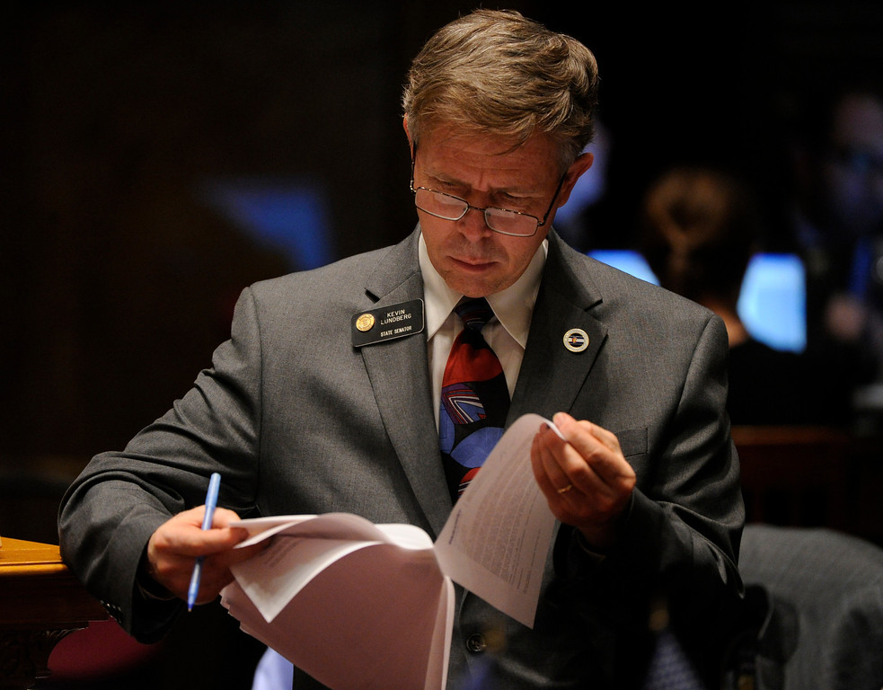 . DENVER, CO. - MARCH 8: Senator Kevin Lundberg (R-Berthoud) checked his notes before speaking out against House Bill 1224 Friday night. The bill would limit ammunition magazines to 15 rounds. The Colorado Senate continued to debate various gun control measures Friday night, March 8, 2013. (Photo By Karl Gehring/The Denver Post)