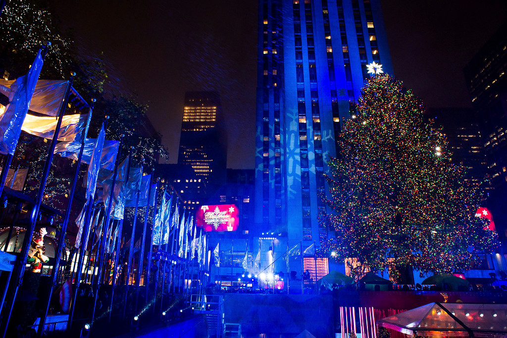 . The Rockefeller Center Christmas tree is lit during the 84th Annual Rockefeller Center Christmas Tree lighting ceremony on Wednesday, Nov. 30, 2016, in New York. (Photo by Charles Sykes/Invision/AP)