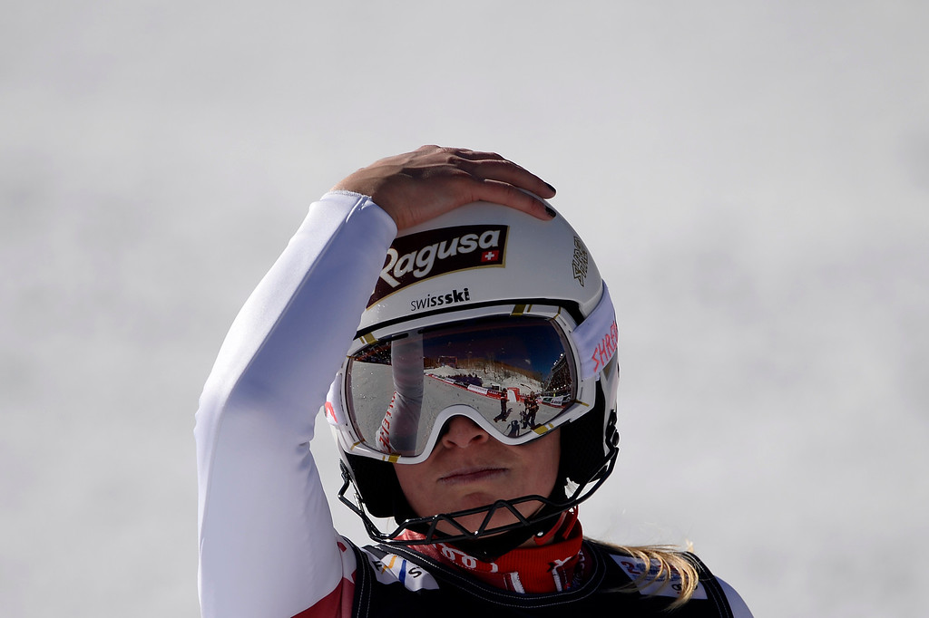 . BEAVER CREEK, CO - FEBRUARY 09: Vanja Brodnik of Slovenia reacts to her slalom finish during the ladies\' alpine combined final. FIS Alpine World Ski Championships 2015 on Monday, February 9, 2015. (Photo by AAron Ontiveroz/The Denver Post)