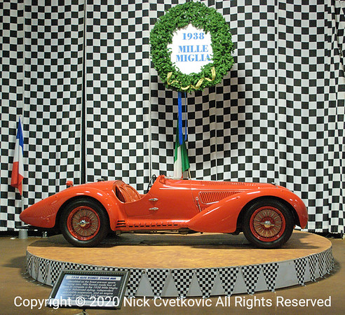 1938 Alfa Romeo 2900B MM; Winner of the 1938 Mille Miglia  One of the prize possessions featured in the Winner's Circle display as featured in first image in this gallery
