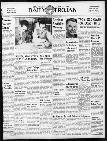Daily Trojan, Vol. 31, No. 100, March 08, 1940