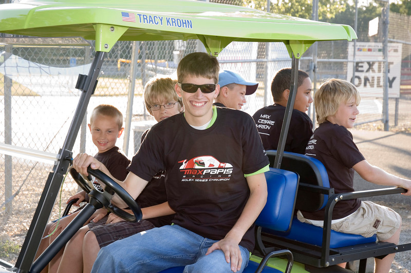 Colin Braun with a cart full of race fans
