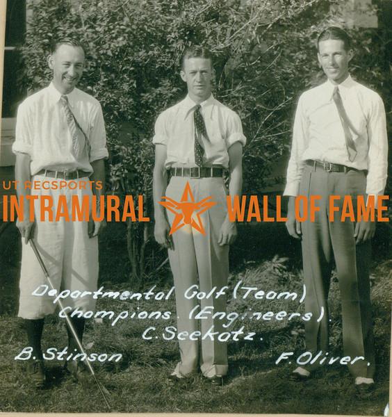 GOLF  Departmental Team Champions  Engineers  B. Stinson, C. Seekatz & F. Oliver