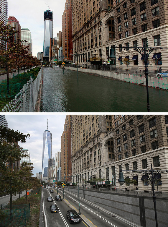 . NEW YORK, NY - OCTOBER 30: (top) Hugh L. Carey Tunnel sits flooded after a tidal surge caused by Hurricane Sandy, on October 30, 2012 in New York City.  (Photo by Allison Joyce/Getty Images)   NEW YORK, NY - OCTOBER 22: (bottom) Traffic passes from Manhattan into the Hugh L. Carey Tunnel on October 22, 2013 in New York City. Hurricane Sandy made landfall on October 29, 2012 near Brigantine, New Jersey and affected 24 states from Florida to Maine and cost the country an estimated $65 billion.  (Photo by John Moore/Getty Images)