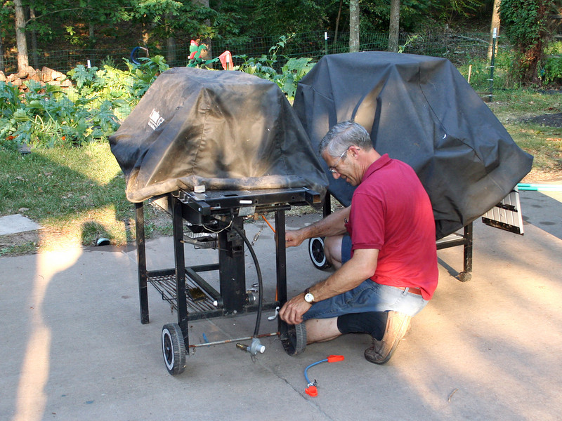 Getting ready the evening before.  Preparing the grills.