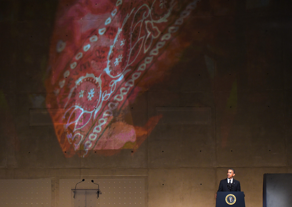 . President Barack Obama speaks at the dedication of the National September 11 Memorial Museum in New York, Thursday, May 15, 2014.   (AP Photo/Timothy A. Clary, Pool)
