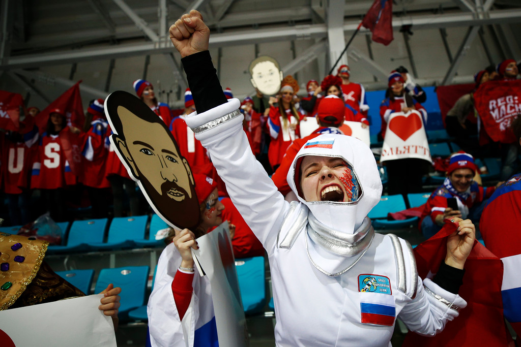. A fan of the Olympic athletes from Russia cheers before the men\'s gold medal hockey game against Germany at the 2018 Winter Olympics, Sunday, Feb. 25, 2018, in Gangneung, South Korea. (AP Photo/Jae C. Hong)