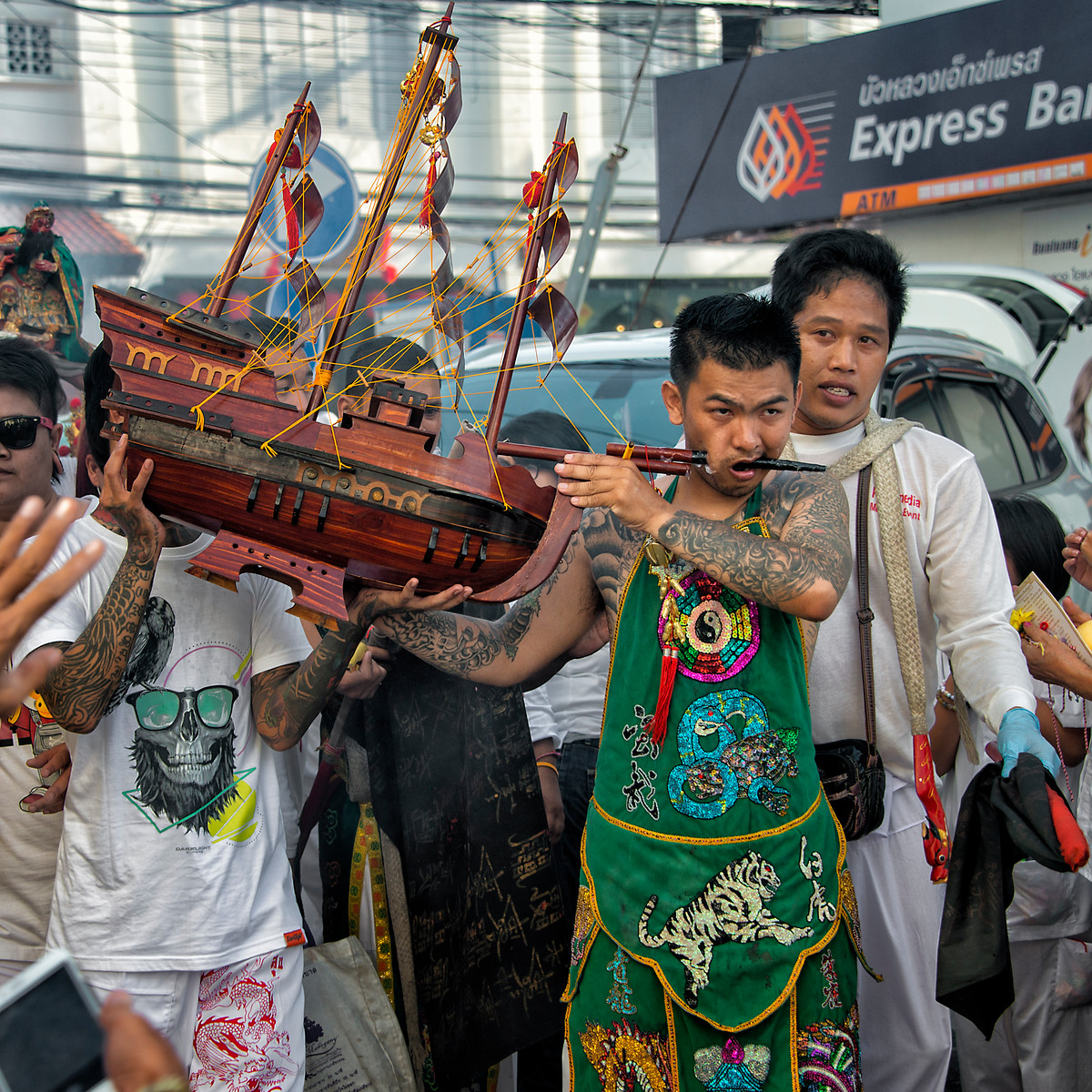 Mystic with Boat through Cheek, Phuket Vegetarian Festival, Thailand - 2015