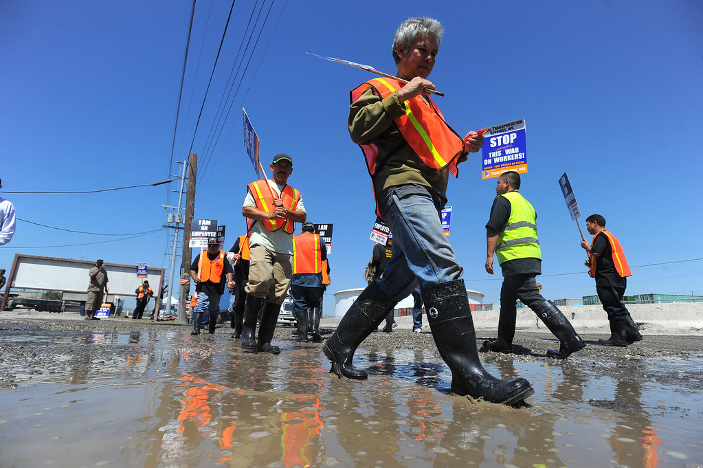 . Teamsters slog through mud as they picket at TTSI in Wilmington, CA on Monday, April 28, 2014. Teamsters are planning a 48-hour strike at the ports of Long Beach and Los Angeles in support of truckers. (Photo by Scott Varley, Daily Breeze)