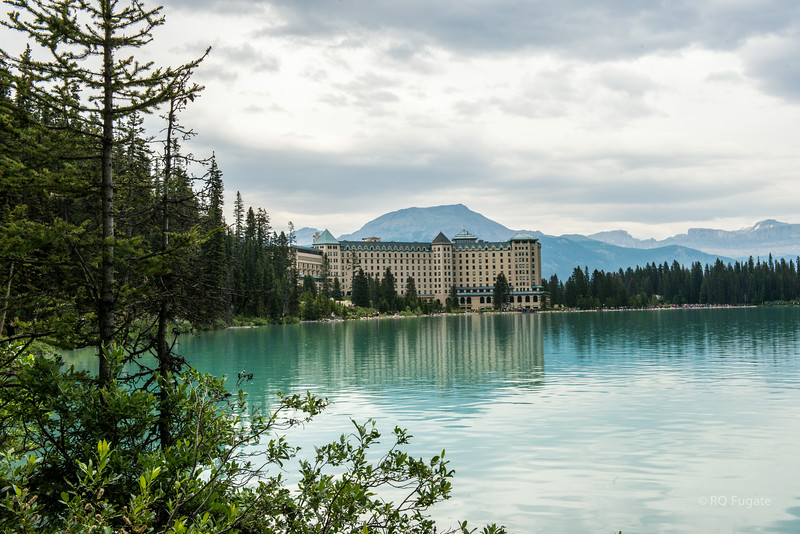 Hotel view from the hiking path around Lake Louise