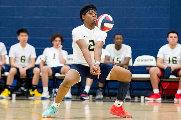 05/13/19 Wesley Bunnell | Staff Newington boys volleyball vs Westfield MA on Monday night at Newington High School. Louis Egbuna (2).