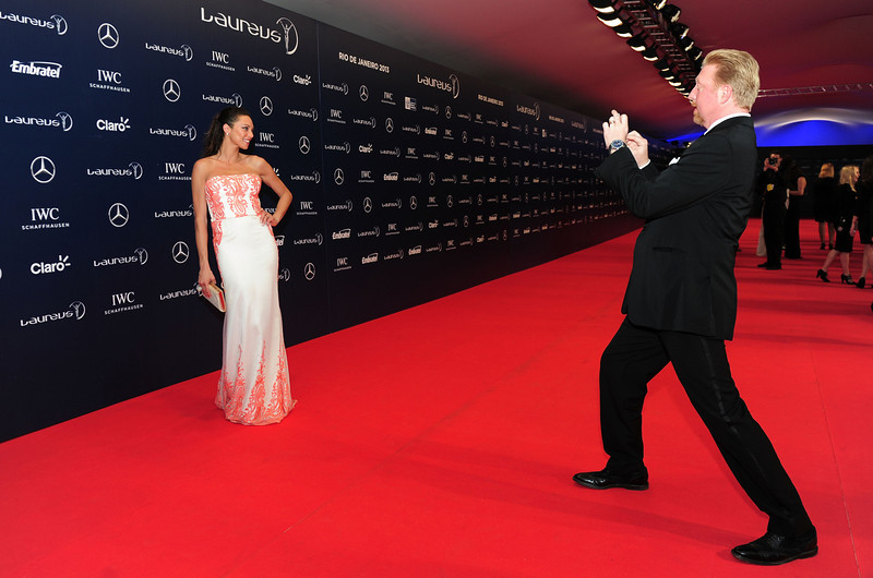 . Laureus Academy Member Boris Becker takes a picture of his  wife Lily Becker attends the 2013 Laureus World Sports Awards at the Theatro Municipal Do Rio de Janeiro on March 11, 2013 in Rio de Janeiro, Brazil.  (Photo by Jamie McDonald/Getty Images For Laureus)