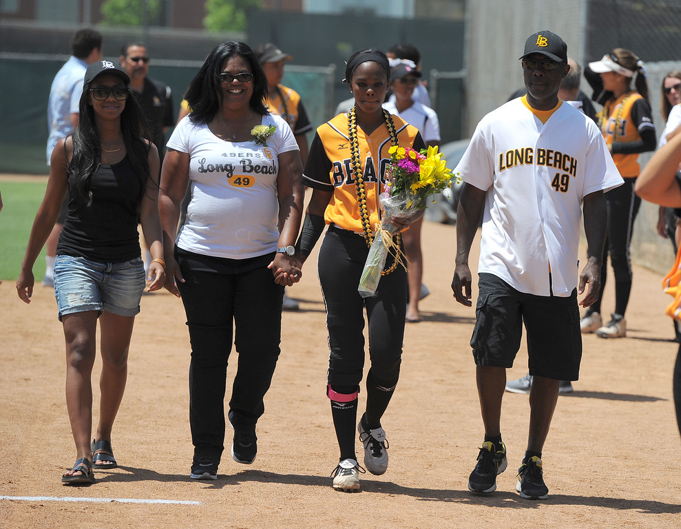 . Senior Erin Jones-Wesley and her family before LBSU lost to Cal Poly softball 3-0 in Long Beach, CA on Sunday, May 4, 2014.  (Photo by Scott Varley, Daily Breeze)