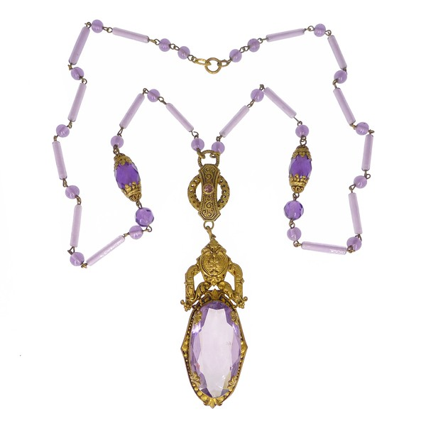 Antique Edwardian Czechoslovakian Purple Glass Gold Metal Necklace