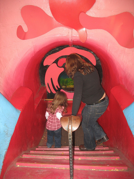 Entering the whale's mouth.