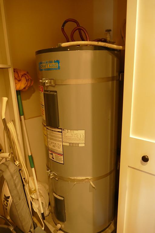 Hot water heater set to away mode before vacation.