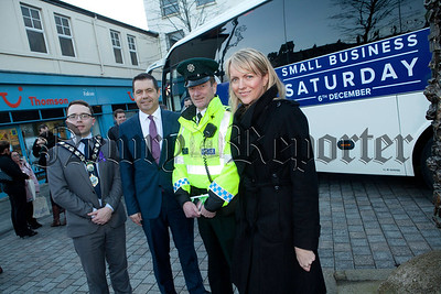 Pictured at the launch of Small Business Saturday to take place on December 6th are, Mayor Daire Hughes, Glynn Roberts (Chief Executive Independant Retailers Association), Const Alastair Binnie (PSNI) and Orla Jackson (Chamber of Commerce). R1448004