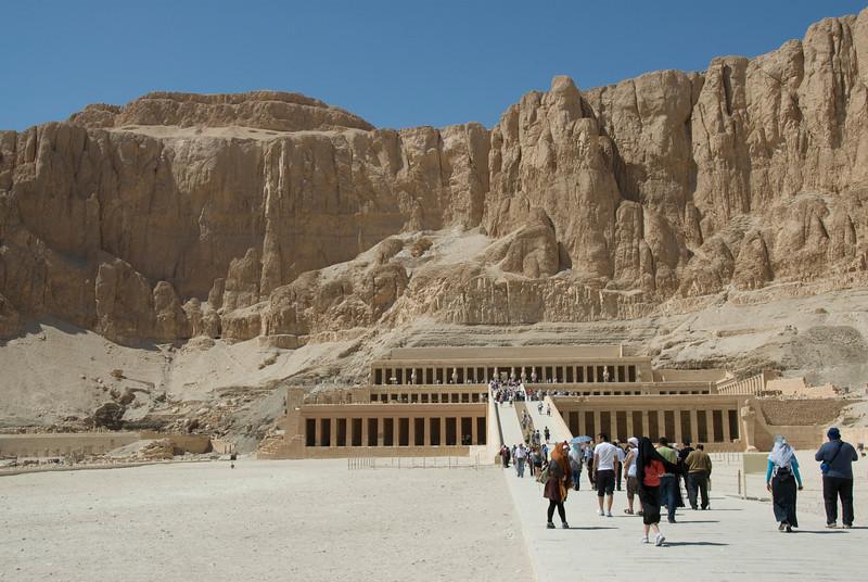 Tourists entering the Hatshepsuts Temple - Luxor, Egypt