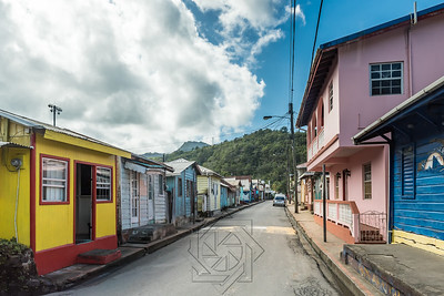 View down a typical rural street of a caribbean island village
