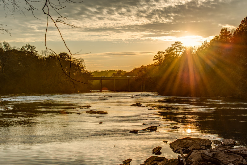 Sun Setting over Chattahoochee River in Atlanta, GA