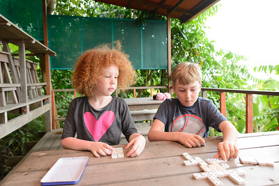 Playing dominoes during the heat of the day.